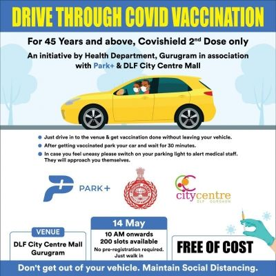 Drive-in vaccination for 2nd shot of Covishield for 45+ in Gurugram